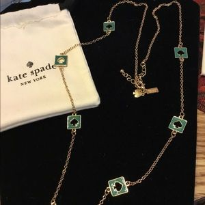 Kate Spade New York Green Enamel Necklace NWOT